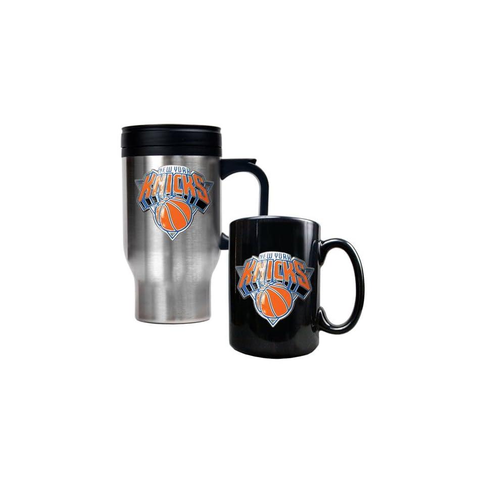 New York Knicks NBA Stainless Steel Travel Mug & Black Ceramic Mug Set   Primary Logo