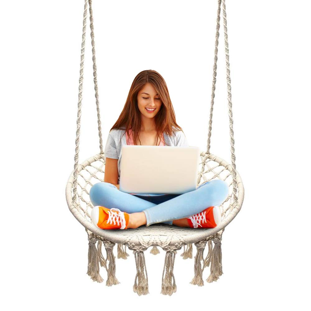 Sonyabecca Hammock Chair Macrame Swing 265 Pound Capacity Handmade Knitted Hanging Swing Chair for Indoor/Outdoor Home Patio Deck Yard Garden Reading Leisure Lounging