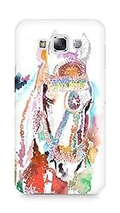 Amez designer printed 3d premium high quality back case cover for Samsung Galaxy E7 (Horse White)