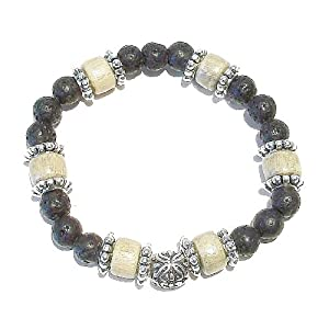 Men's Gemstone Stretch Bracelet - Lava & Pale Wood Approx. 21cm