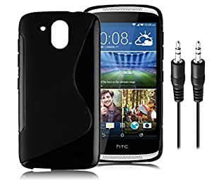 HTC Desire 326G Anti-Shock Proof High Quality TPU Material Back Case Cover with Copper Made Aux Cable (Combo Offer Pack of Cable and Back Cover)