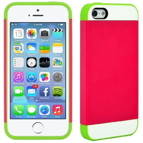 CellJoy Hybrid TPU 2PC Layered Hard Case Rubber Bumper for Apple iPhone 5 5S (At&t / Sprint / T-Mobile / Verizon ) Pink Green at Sears.com