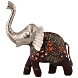 Shiva Enterprises Royal Elephant With Combination Of Wood And Metal - (23 Cm X 22 Cm X 6 Cm)