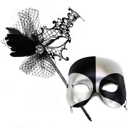Colette Deluxe Stick-Black Silver Masquerade Masks for a Couple