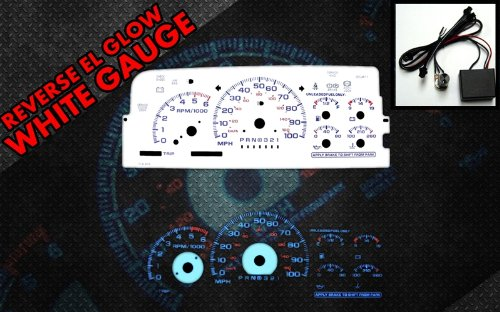Brand New White Face Blue Indigo Reverse Glow Gauges For 95-98 Chevy C/K 1500 Silverado (I-213) (97 Chevy Silverado Accessories compare prices)
