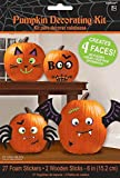 Silly Faces Pumpkin Decorating Kit - Makes 4 Jack-o-lantern Faces (Includes 27 Foam Stickers & 2 Wooden Sticks)
