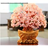 Holiday Gifts Natural Rose Quartz Crystal Gem Money Tree In For Wealth