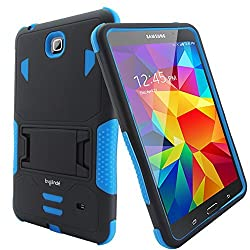 Samsung Galaxy Tab 4 7.0 Case - Bvgande [Todt Series] [Full Body Heavy Duty] Hybrid Rugged Protective Case Built-in Kickstand Cover Dual Layer Design/Shock Resistant Bumper Protection (Black/Blue)