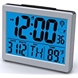 """Atomic Desk/bedroom Alarm Clock-1.5"""" Time Number, Back Blue Light"""