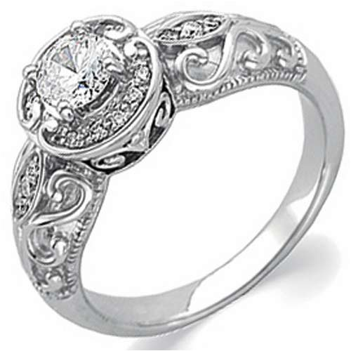 14K White Gold Vintage Style SemiMount Diamond Engagement Ring for Women
