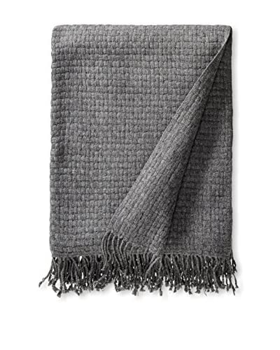 a & R Cashmere Wool & Cashmere Basketweave Throw, Heather Grey