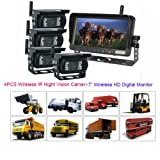 "Rupse 7"" QUAD HD Monitor Wireless IR Night Vision Rear View Back up Camera System for RV Truck Trailer Bus or Fifth-Wheel"