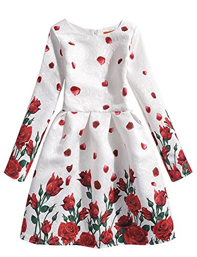 21KIDS Rose Flowers Girl Wedding Party Autumn Long Sleeve Dresses