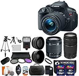 Canon EOS Rebel T5i 18.0 MP CMOS Digital Camera SLR Kit With Canon EF-S 18-55mm IS STM + Canon 75-300mm III Lens + Wide-Angle Lens + Telephoto Lens + 8GB and 16GB Card + Card Reader + Case + Battery + Flash + Tripod + Remote + 58mm Filter Kit - 24GB Delux