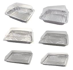 Pack of 6 Disposable Aluminum Foil Pans with Plastic Lids, Roasting Pans, Baking Pans, Cake Pans with Clear Lids