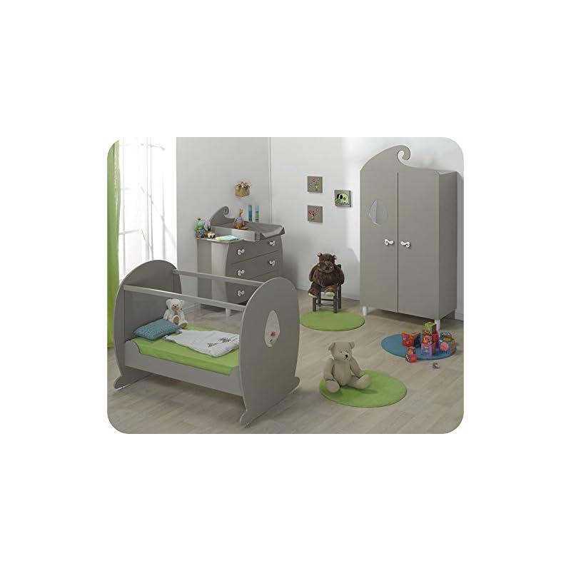 ... - Chambre bébé Lutin lin et sable lit plexi avec plan à langer