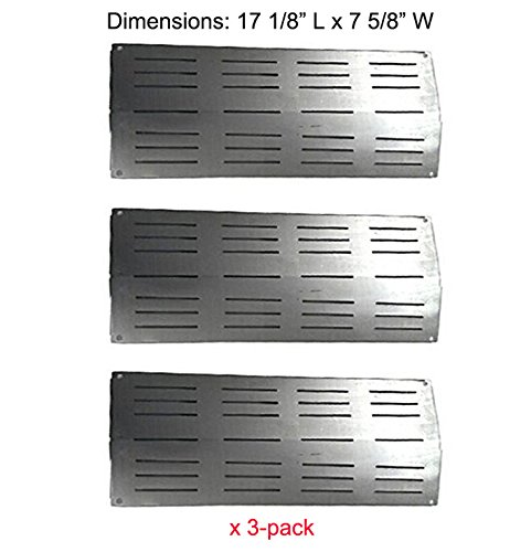 BBQ funland SH7441 (3-pack) Stainless Steel Heat Plate Replacement for Select Gas Grill Models by Charbroil, Grand Cafe and Others (Grand Hall Bbq compare prices)