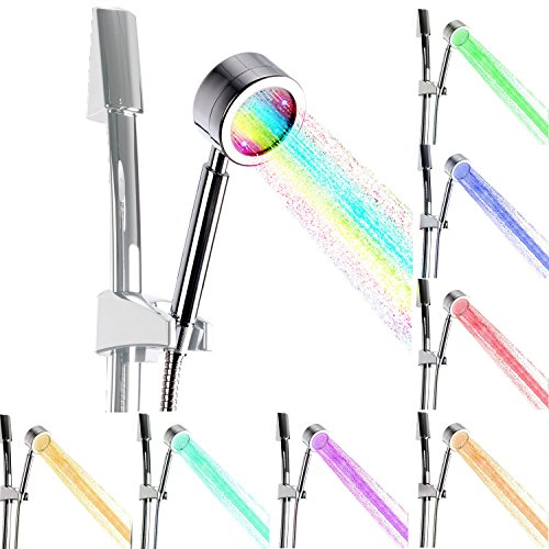 [Ultra-Luxury]Dsiker® 7-color LED Handheld Shower-Head/with Chrome Face.7 Colors Change Automatically Glow LED Shower for Bathroom Kitchen with Shower nozzle,Color-Changing LEDs -Rainbow LED Showers
