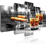 Bilder 200x100 cm - 3 Farben zur Auswahl ! XXL Format! Fertig Aufgespannt TOP Vlies Leinwand - 5 Teilig - Whisky Zigarre Wand Bild Bilder Kunstdrucke Wandbild 030106-15 200x100 cm B&D XXL