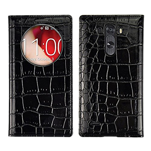 Diylooks Crocodile Texture Phone Cover Horizontal Flip Leather Case + Plastic Replacement Back Cover With Call Display Id For Lg G3 / D855 (Black)