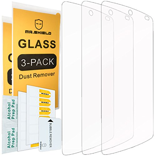 [3-PACK]- Mr Shield For Google(lg) Nexus 5 [Tempered Glass] Screen Protector [0.3mm Ultra Thin 9H Hardness 2.5D Round Edge] with Lifetime Replacement Warranty (Nexus 5 Warranty compare prices)