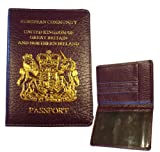 Passport cover holder real leather protection cover GB Northern Ireland in Mauve