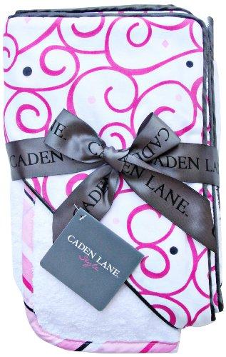 Caden Lane Luxe Collection Swirl Hooded Towel Set, Dark Pink, Infant
