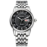 Jiusko Mens 24 Jeweled Automatic Silver Dress Wrist Watch - Sapphire - Stainless Steel -Day Date - Exhibition Caseback - Black Dial - 118MLS2