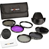 K&F Concept 67mm 6pcs FLD CPL UV ND2 ND4 ND8 Lens Accessory Filter Kit UV Protector Circular Polarizing Filter for Canon 7D 700D 600D 70D 60D 650D 550D for Nikon D7100 D80 D90 D7000 D5200 D3200 D5100 D3200 D5300 DSLR Cameras + Microfiber Lens Cleaning Cl