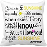 ilkin Custom 18 X 18 Inch Soft White Canvas Decorative Throw Pillow Cover Cushion Case (You Are My Sunshine)