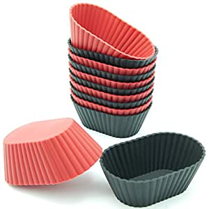 Freshware CB-302RB 12-Pack Silicone Mini Oval Reusable Cupcake and Muffin Baking Cup, Black and Red Colors