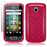 LG OPTIMUS ONE P500 GEL CASE / COVER / SKIN / SHELL - HOT PINK WITH SCREEN PROTECTOR PART OF THE QUBITS ACCESSORIES RANGE