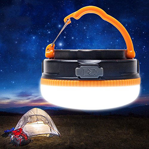 Yustar USB Rechargeable LED Camping Light And Emergency Lantern 3W Super Bright Multifunctional LED Portable Emergency Tent Night Light with SOS lighting Mode, Magnetic Bottom, Pure white Lighting ...