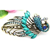 Lovely Vintage Jewelry Crystal Green Peacock Hair Clips - for hair clip Beauty Tools