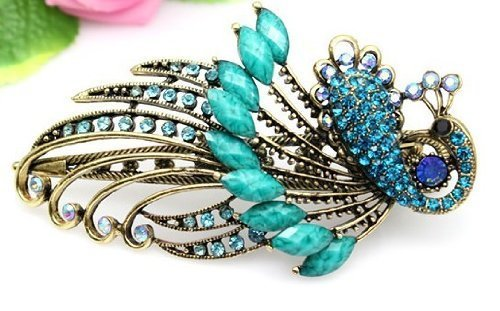 Lovely Vintage Jewelry Crystal Green Peacock
