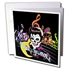gc_18914_1 Dezine01 Graphics Rock and Roll - Rock and Roll Skull Elvis - Greeting Cards-6 Greeting Cards with envelopes