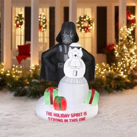 fun 6 airblown inflatable darth vader and storm trooper snowman scene christmas inflatable bring the holidays home with this inflatable star wars scene