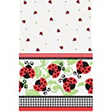 "Unique Ladybug Plastic Table Cover, 84 x 54"", Red"