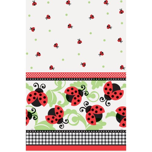 Mantel-Ladybug-Party-con-adornos-de-hojas-y-patrn-de-plstico-a-cuadros