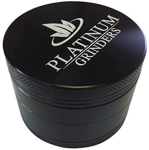 Platinum Grinders Herb Grinder with Pollen Catcher – Large 2.5 Inch 4-piece, Black Aluminum