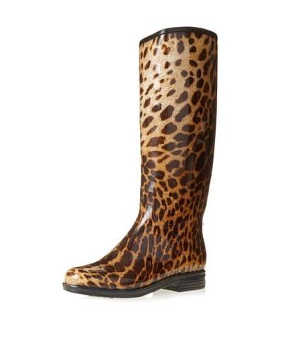 däv Women's English Leopard Knee-High Boot  - Black