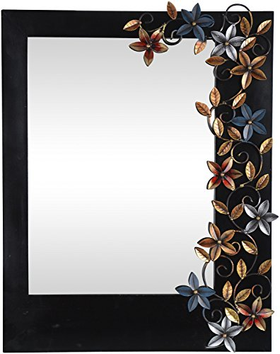 Malik Designs Wood Leaf Top Wall Mirror - (60 Cm X 4 Cm X 76 Cm)