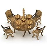 The Hue Cottage Maharaja Table Set Handcrafted Brass Showpiece Dining Table Figurine Decor Indian Gift Items