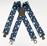MENS GLOW IN THE DARK MOON AND STAR WORK FASHION BRACES 2