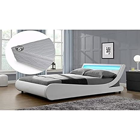 Cama con luz LED, 140 x 190 cm, modelo Saturno, incluye somier y colchón, color blanco