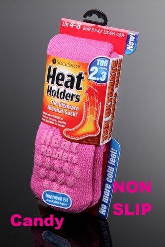 Ladies Heat Holder Slipper Socks Candy Pink 4-8 uk