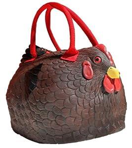 """Rubber Brown Chicken Hen Tote Bag Handbag Purse Pocketbook """"Henbag"""""""