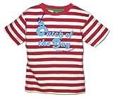 Little Green Radicals Catch Of The Day - Camiseta para beb� (algod�n org�nico de comercio justo, mensaje en ingl�s), dise�o de rayas, color rojo y blanco Talla:0-6 months