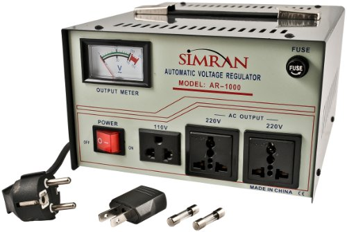 Simran Ar-1000 1000-Watt Voltage Regulator/Stabilizer With Built-In Step Up/Down Voltage Transformer, Grey