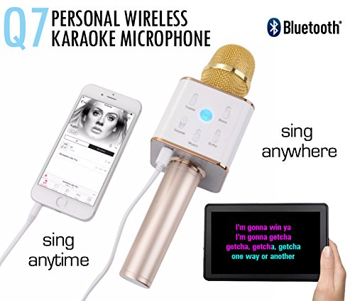 Wizzit© High Quality Q7 Portable Multi-function Wireless Microphone Karaoke KTV Player Handheld Condenser With...